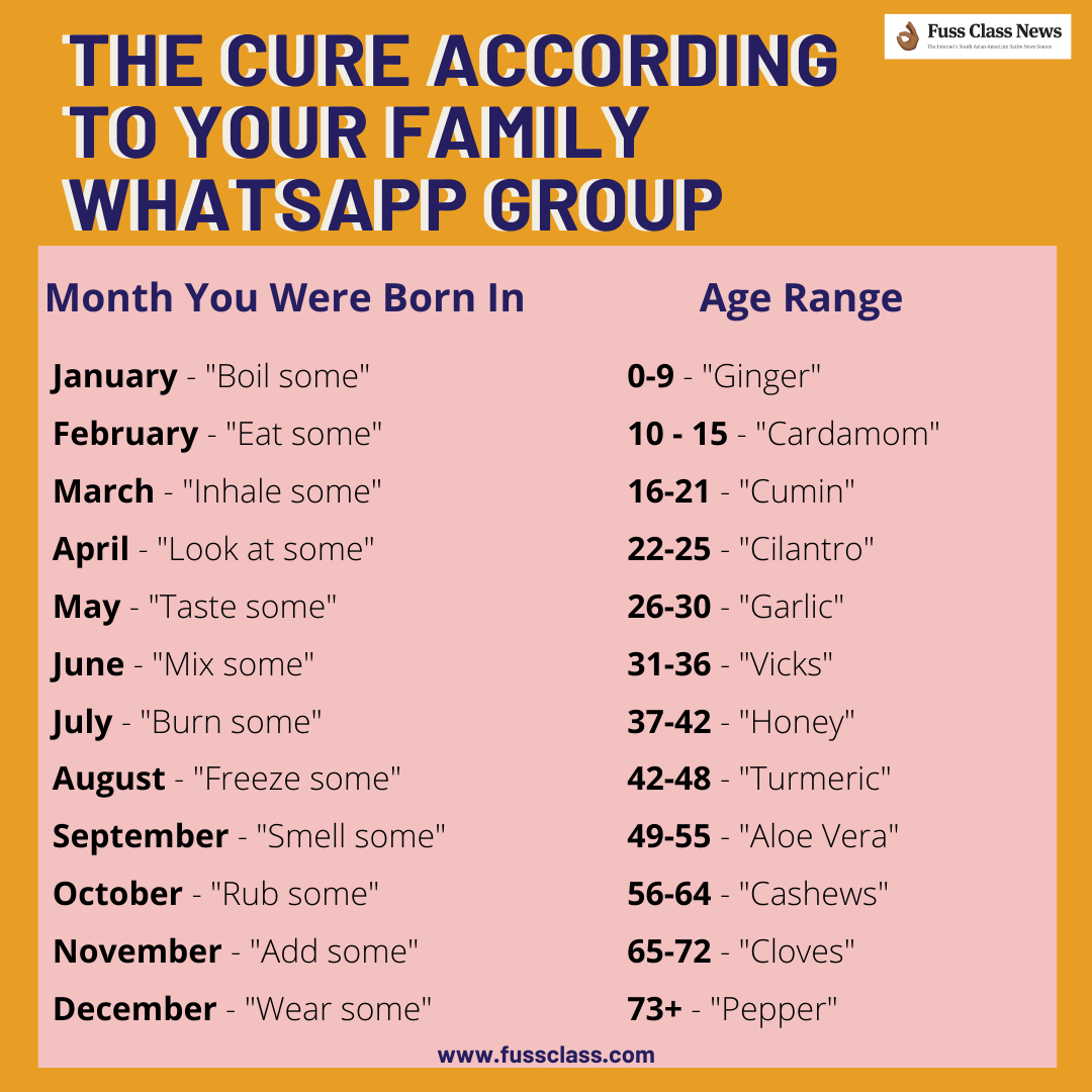 Image of a system showing The Cure According To Your Family Whatsapp Group